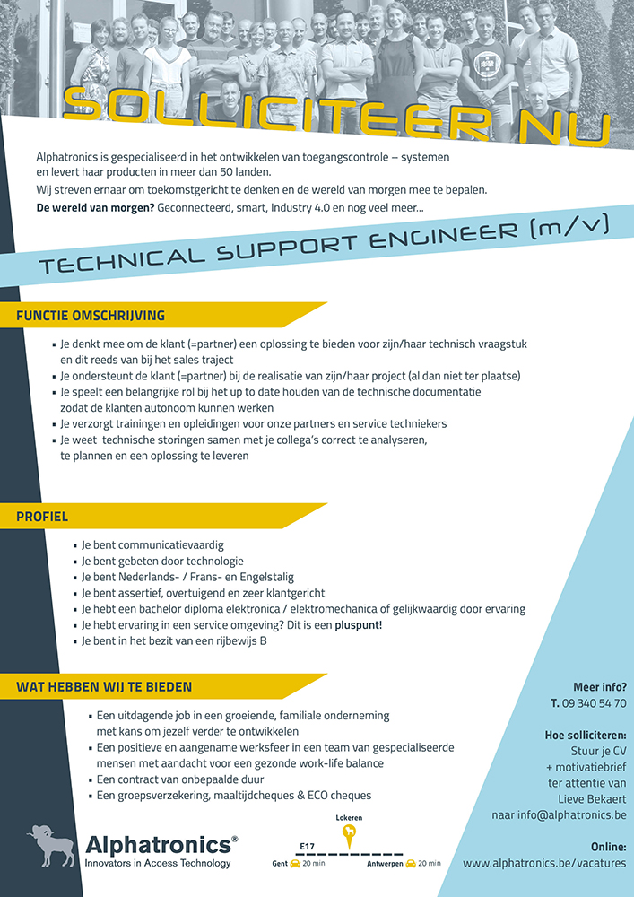 Alphatronics Vacature technical Support Engineer